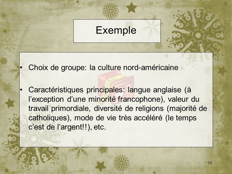 11 Exemple Choix de groupe: la culture nord-américaine Caractéristiques principales: langue anglaise (à lexception dune minorité francophone), valeur