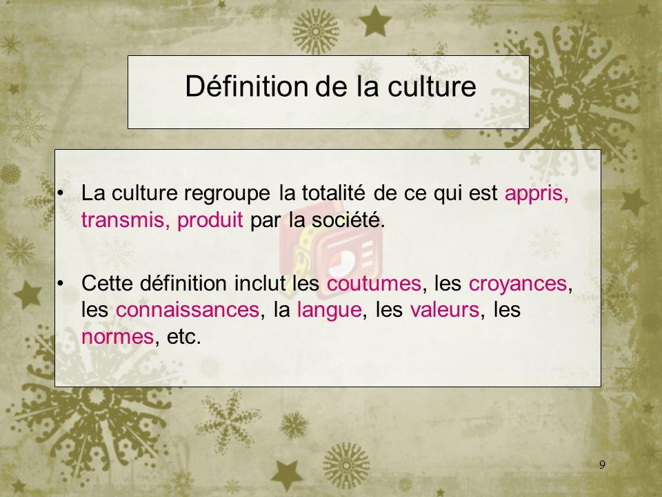 9 Définition de la culture La culture regroupe la totalité de ce qui est appris, transmis, produit par la société. Cette définition inclut les coutume