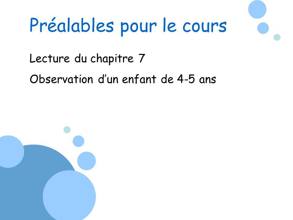 Lecture du chapitre 7 Observation dun enfant de 4-5 ans Préalables pour le cours