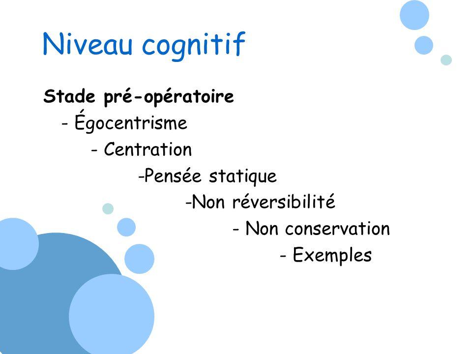 Niveau cognitif Stade pré-opératoire - Égocentrisme - Centration -Pensée statique -Non réversibilité - Non conservation - Exemples
