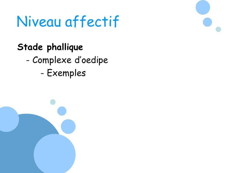 Niveau affectif Stade phallique - Complexe doedipe - Exemples
