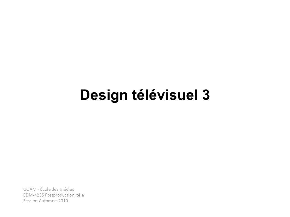 Design télévisuel 3 UQAM - École des médias EDM-4235 Postproduction télé Session Automne 2010