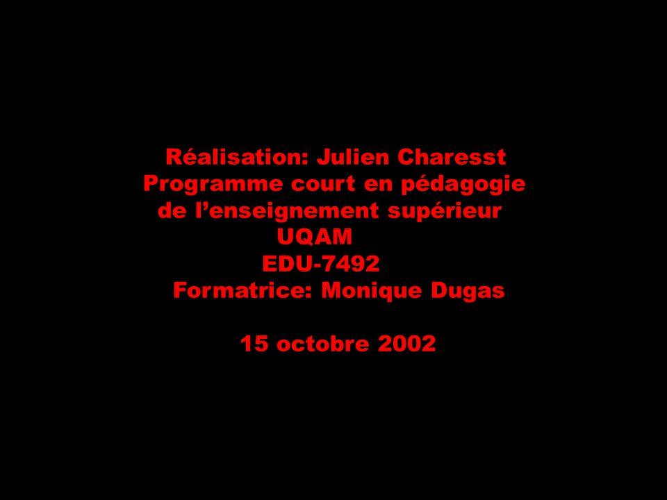Réalisation: Julien Charesst Programme court en pédagogie de lenseignement supérieur UQAM EDU-7492 Formatrice: Monique Dugas 15 octobre 2002