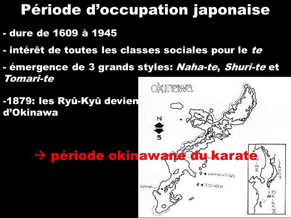 Funakoshi Gichin - né à Shuri en 1868 -étudie le Shuri-te et le Naha-te et en effectue la synthèse (shôtôkan) -1923: il donne une démonstration de karaté à lUniversité de Tôkyô début de la phase japonaise du karaté