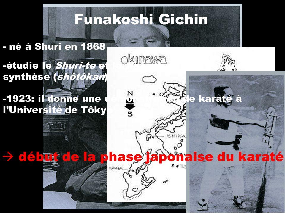 Funakoshi Gichin - né à Shuri en 1868 -étudie le Shuri-te et le Naha-te et en effectue la synthèse (shôtôkan) -1923: il donne une démonstration de kar