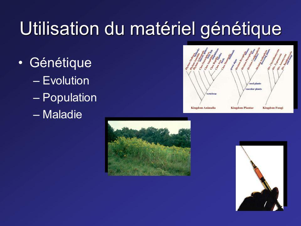 Utilisation du matériel génétique Génétique –Evolution –Population –Maladie