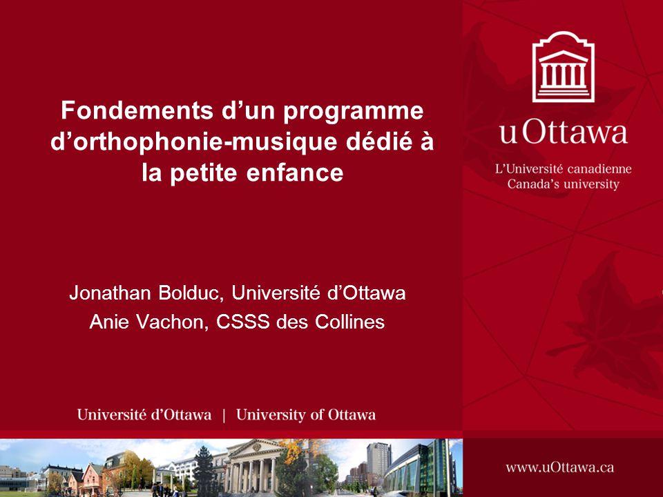 Fondements dun programme dorthophonie-musique dédié à la petite enfance Jonathan Bolduc, Université dOttawa Anie Vachon, CSSS des Collines