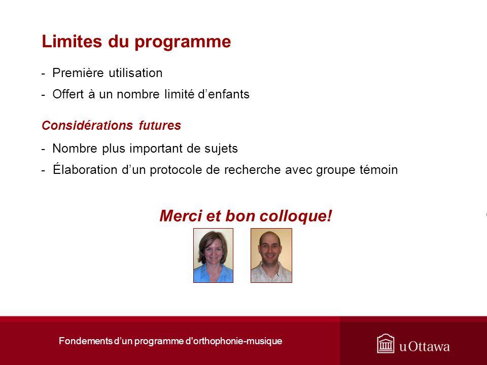 Fondements dun programme d'orthophonie-musique Limites du programme - Première utilisation - Offert à un nombre limité denfants Considérations futures