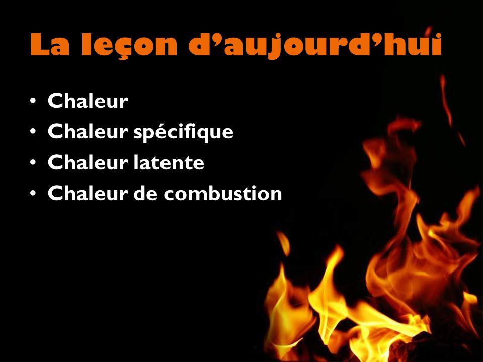 La leçon daujourdhui Chaleur Chaleur spécifique Chaleur latente Chaleur de combustion