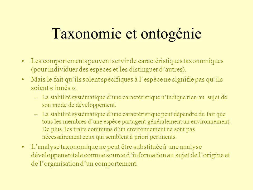 Taxonomie et ontogénie Les comportements peuvent servir de caractéristiques taxonomiques (pour individuer des espèces et les distinguer dautres). Mais