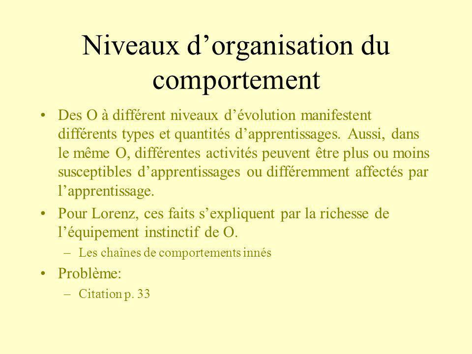 Niveaux dorganisation du comportement Des O à différent niveaux dévolution manifestent différents types et quantités dapprentissages. Aussi, dans le m