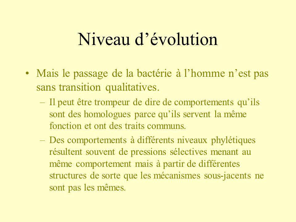 Niveau dévolution Mais le passage de la bactérie à lhomme nest pas sans transition qualitatives. –Il peut être trompeur de dire de comportements quils