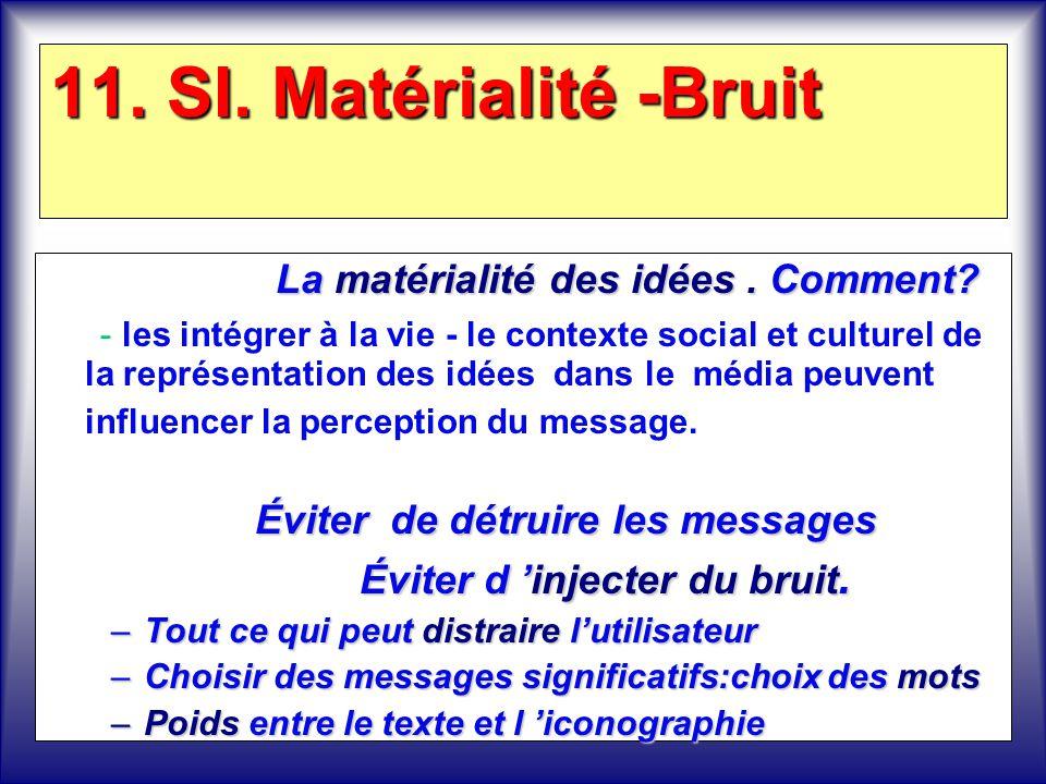 11. SI. Matérialité -Bruit La matérialité des idées. Comment? - les intégrer à la vie - le contexte social et culturel de la représentation des idées