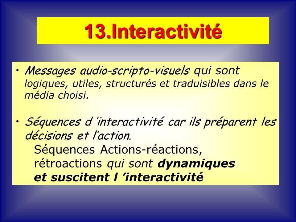 Messages audio-scripto-visuels qui sont logiques, utiles, structurés et traduisibles dans le média choisi. Séquences d interactivité car ils préparent