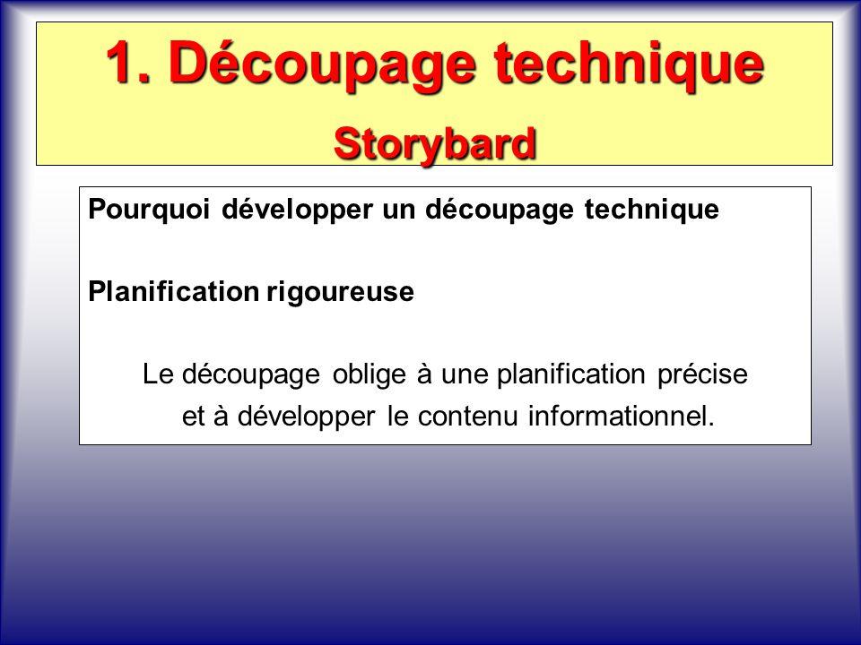 1. Découpage technique Storybard Pourquoi développer un découpage technique Planification rigoureuse Le découpage oblige à une planification précise e