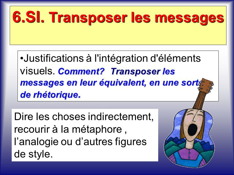 6.SI. Transposer les messages Comment?Transposer les messages en leur équivalent, en une sorte de rhétorique.Justifications à l'intégration d'éléments