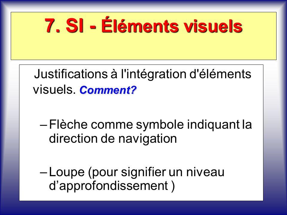 7. SI - Éléments visuels Comment? Justifications à l'intégration d'éléments visuels. Comment? –Flèche comme symbole indiquant la direction de navigati