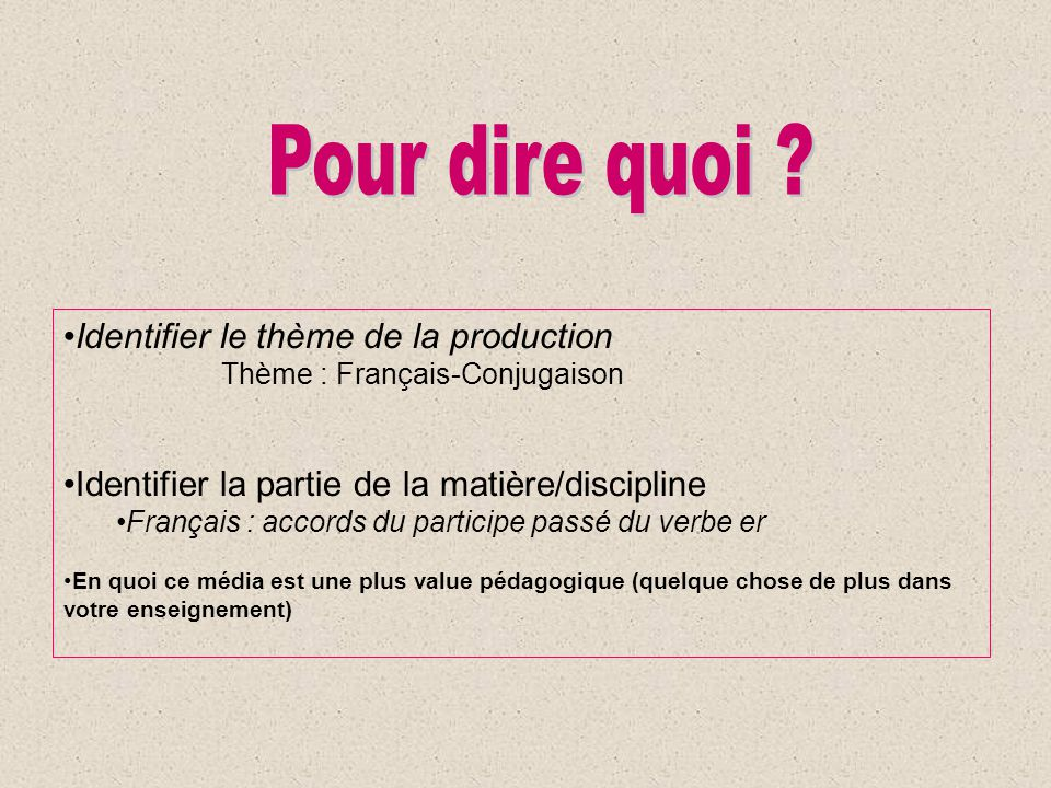 Identifier le thème de la production Thème : Français-Conjugaison Identifier la partie de la matière/discipline Français : accords du participe passé