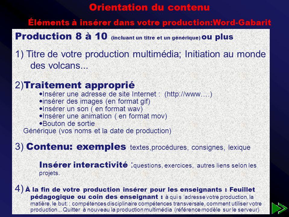 Faire une production multimédia, les étapes Faire une production multimédia, les étapes Faite d abord le canevas à l étude (traitement de texte à l ordinateur) Votre graphe d interaction (word à l ordinateur, guide p 49 pour le graphe simplifié ).