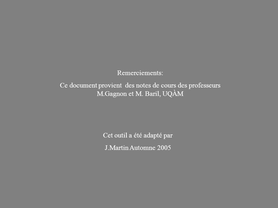 Remerciements: Ce document provient des notes de cours des professeurs M.Gagnon et M. Baril, UQÀM Cet outil a été adapté par J.Martin Automne 2005