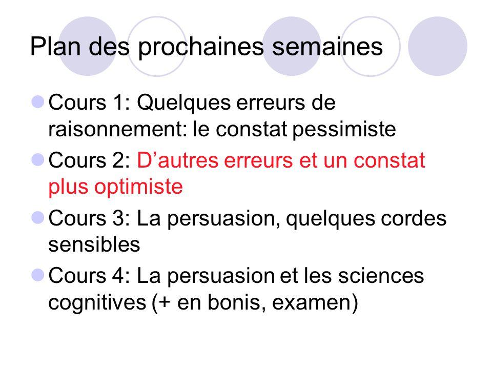 Plan des prochaines semaines Cours 1: Quelques erreurs de raisonnement: le constat pessimiste Cours 2: Dautres erreurs et un constat plus optimiste Co