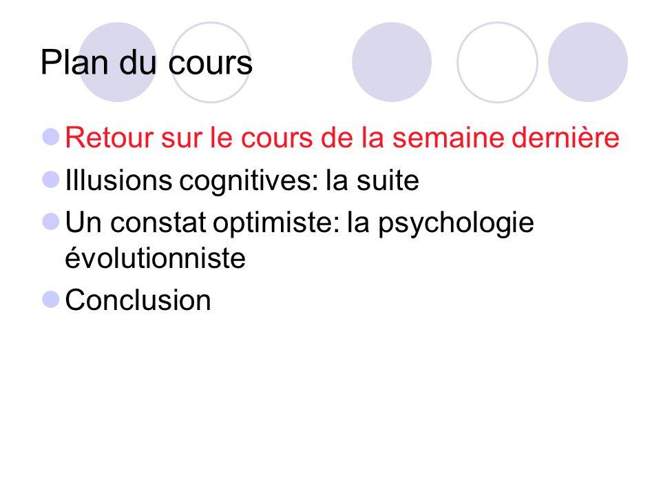Plan du cours Retour sur le cours de la semaine dernière Illusions cognitives: la suite Un constat optimiste: la psychologie évolutionniste Conclusion