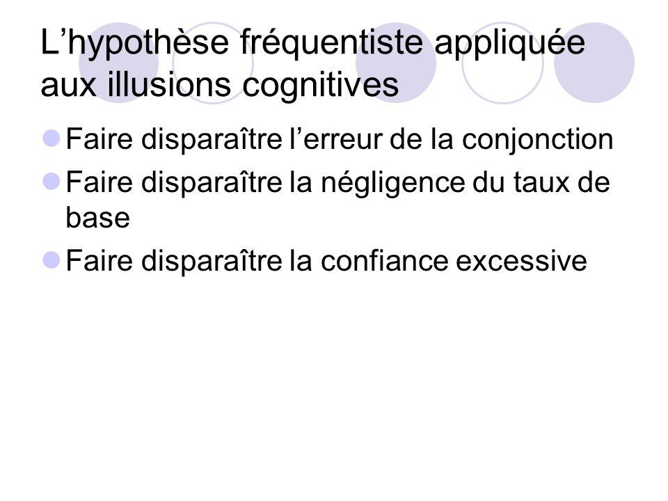 Fréquence naturelle Facilité à calculer les fréquences (animaux, enfants et adultes) vs agonie mentale pour apprendre les probabilités.