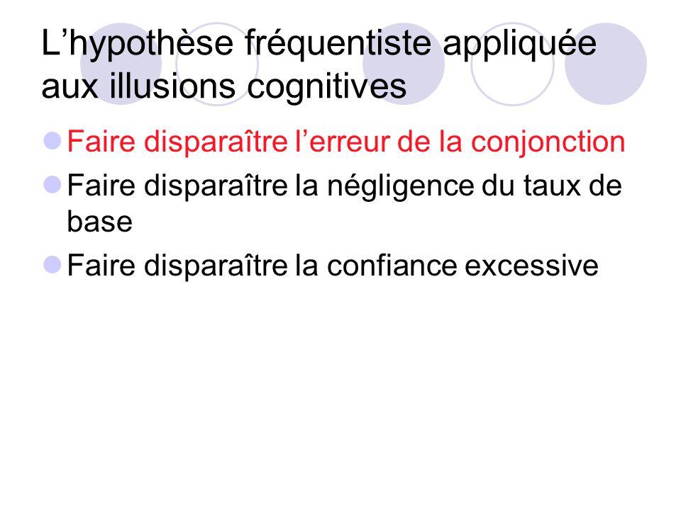 Lhypothèse fréquentiste appliquée aux illusions cognitives Faire disparaître lerreur de la conjonction Faire disparaître la négligence du taux de base