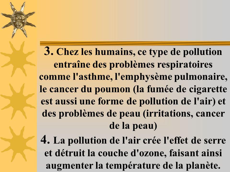1.La pollution est principalement causée par les gaz brûlés par les automobiles et les industries qui brûlent des combustibles fossiles. 2. Certains g