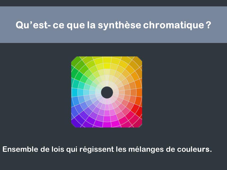 Quest- ce que la synthèse chromatique ? Ensemble de lois qui régissent les mélanges de couleurs.