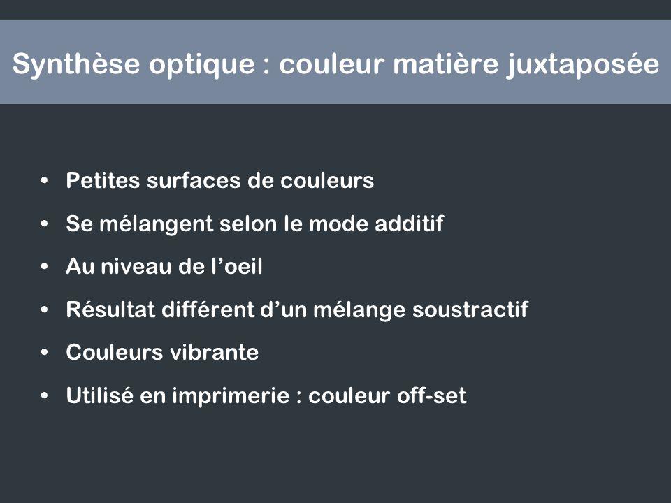 Synthèse optique : couleur matière juxtaposée Petites surfaces de couleurs Se mélangent selon le mode additif Au niveau de loeil Résultat différent dun mélange soustractif Couleurs vibrante Utilisé en imprimerie : couleur off-set