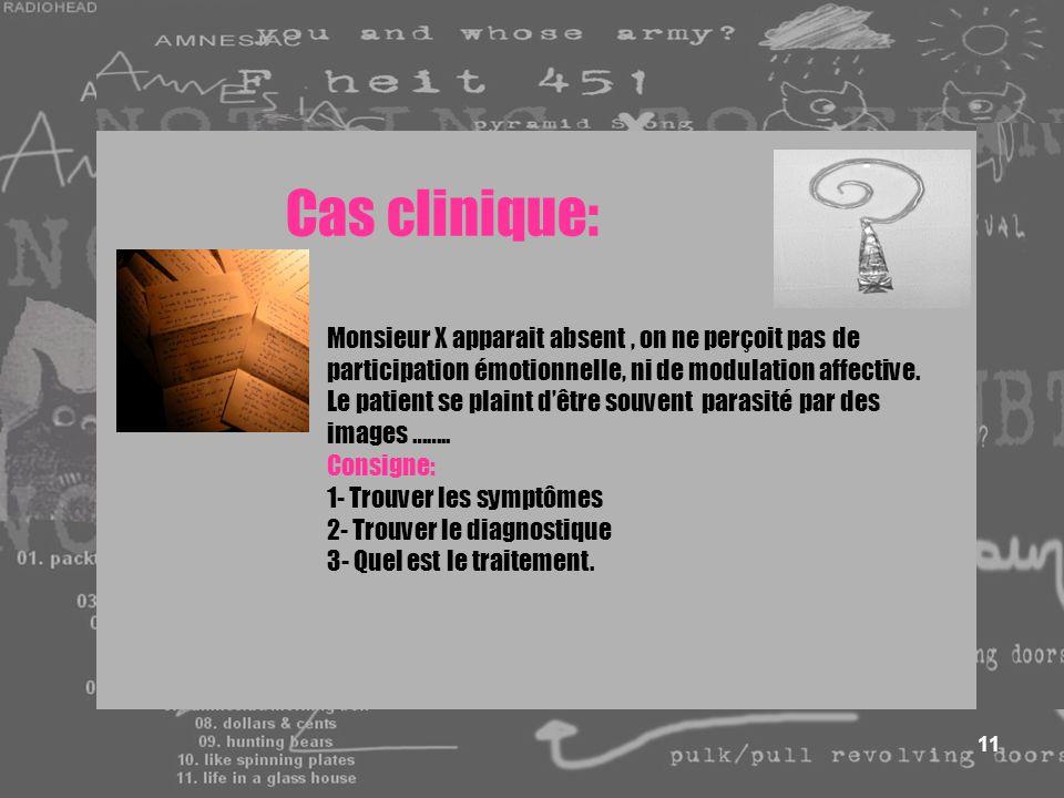 11 Cas clinique: Monsieur X apparait absent, on ne perçoit pas de participation émotionnelle, ni de modulation affective. Le patient se plaint dêtre s