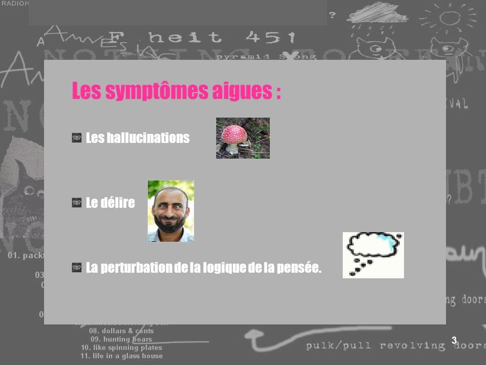3 Les symptômes aigues : Les hallucinations Le délire La perturbation de la logique de la pensée.