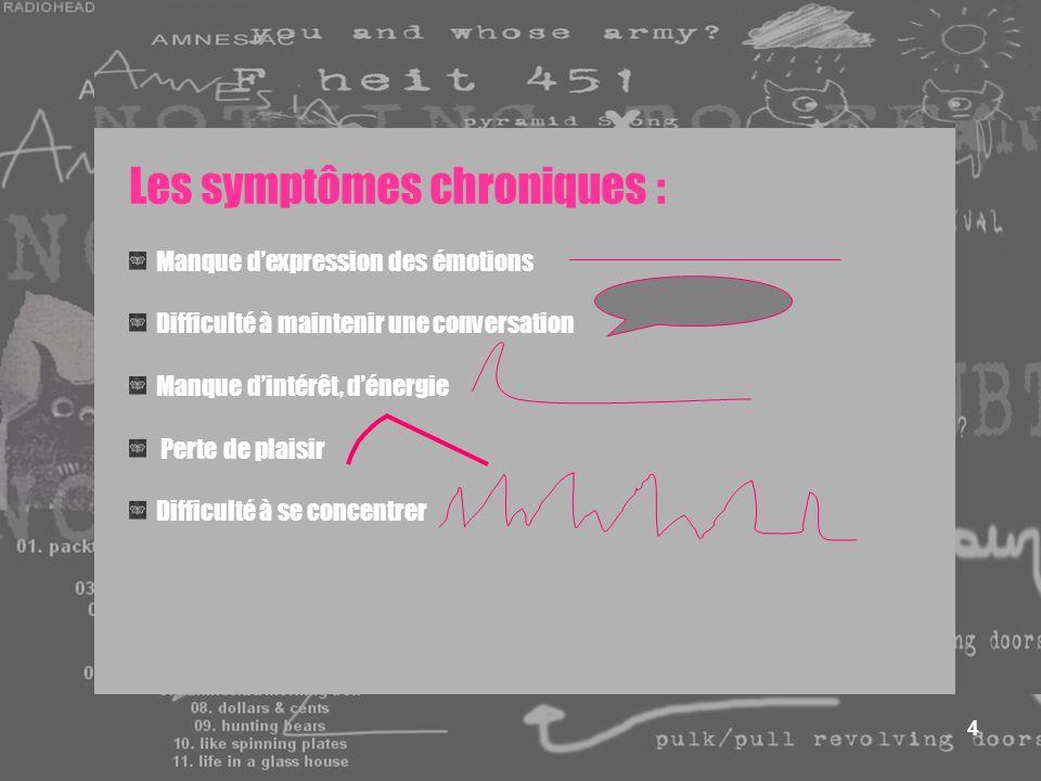 4 Les symptômes chroniques : Manque dexpression des émotions Difficulté à maintenir une conversation Manque dintérêt, dénergie Perte de plaisir Diffic