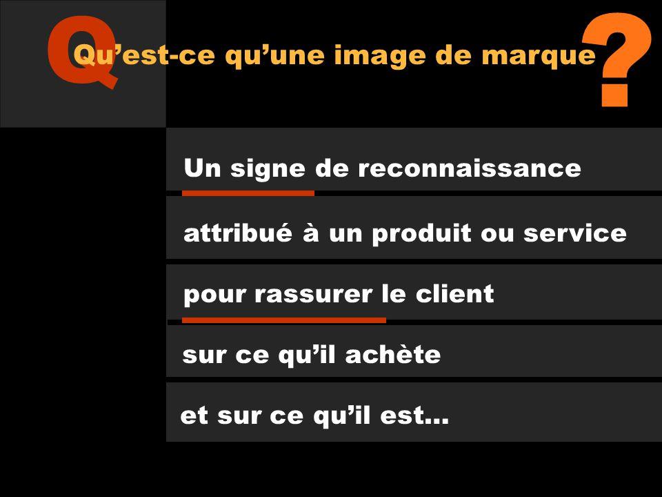 Un signe de reconnaissance attribué à un produit ou service pour rassurer le client sur ce quil achète et sur ce quil est… ? Q Quest-ce quune image de