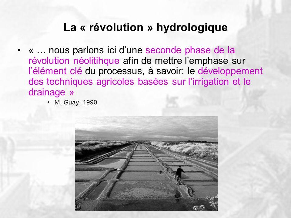 Lhydrologie dans lAntiquité Développement des techniques agricoles: irrigation et drainage Rendements accrus 1er surplus agricoles Richesse croissante