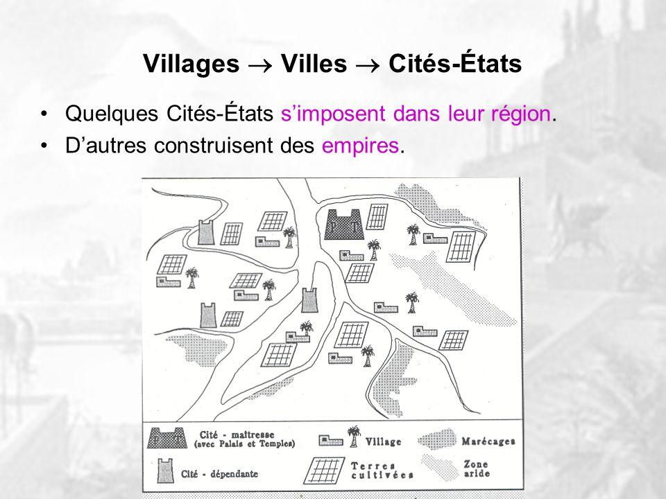 Villages Villes Cités-États Quelques temples puissants et riches transforment graduellement leur village en ville, puis en cité-État. Concentration da