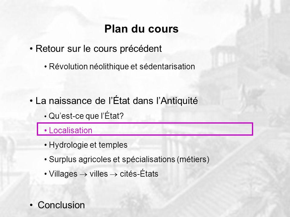 Plan du cours Retour sur le cours précédent Révolution néolithique et sédentarisation La naissance de lÉtat dans lAntiquité Quest-ce que lÉtat.
