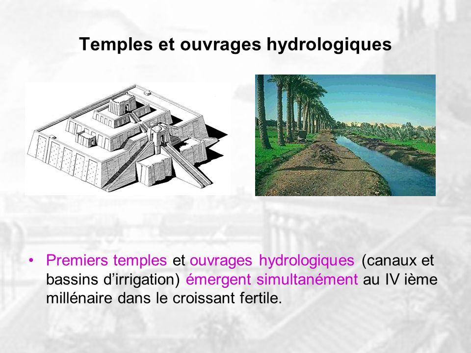 Temples et ouvrages hydrologiques Premiers temples et ouvrages hydrologiques (canaux et bassins dirrigation) émergent simultanément au IV ième millénaire dans le croissant fertile.