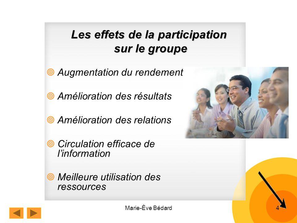 Marie-Ève Bédard4 Les effets de la participation sur le groupe Augmentation du rendement Amélioration des résultats Amélioration des relations Circulation efficace de linformation Meilleure utilisation des ressources