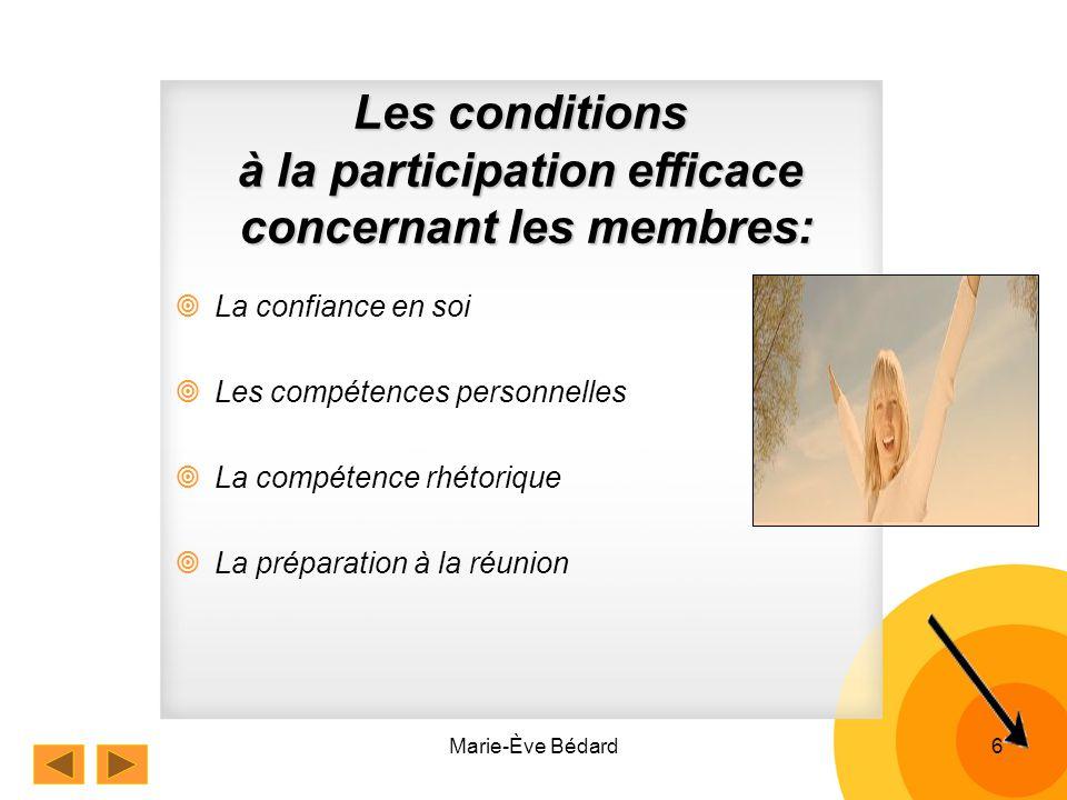 Marie-Ève Bédard6 La confiance en soi Les compétences personnelles La compétence rhétorique La préparation à la réunion Les conditions à la participation efficace concernant les membres: