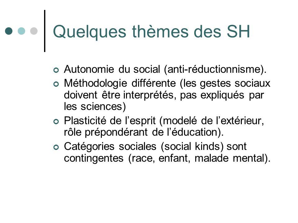 Quelques thèmes des SH Autonomie du social (anti-réductionnisme).