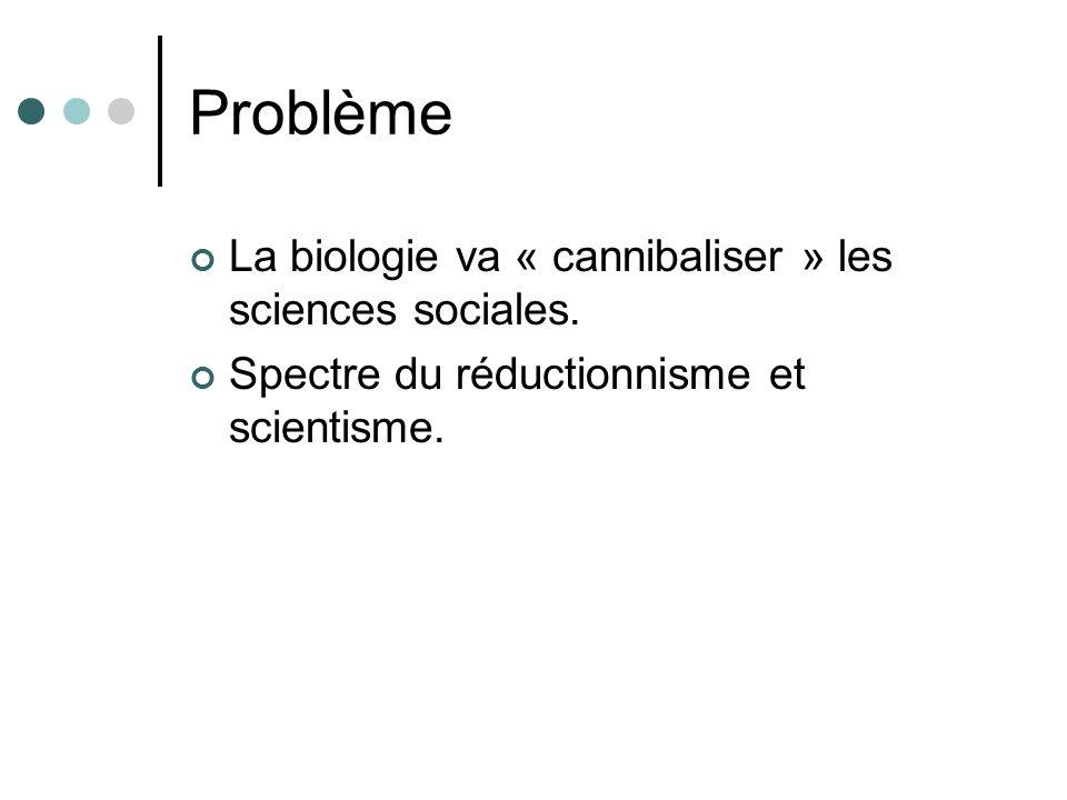 Problème La biologie va « cannibaliser » les sciences sociales.