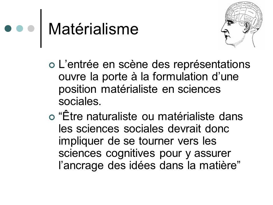 Matérialisme Lentrée en scène des représentations ouvre la porte à la formulation dune position matérialiste en sciences sociales.