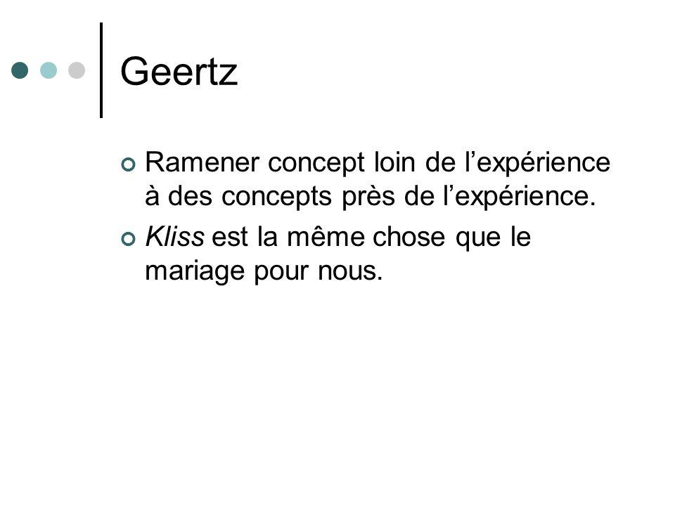 Geertz Ramener concept loin de lexpérience à des concepts près de lexpérience.