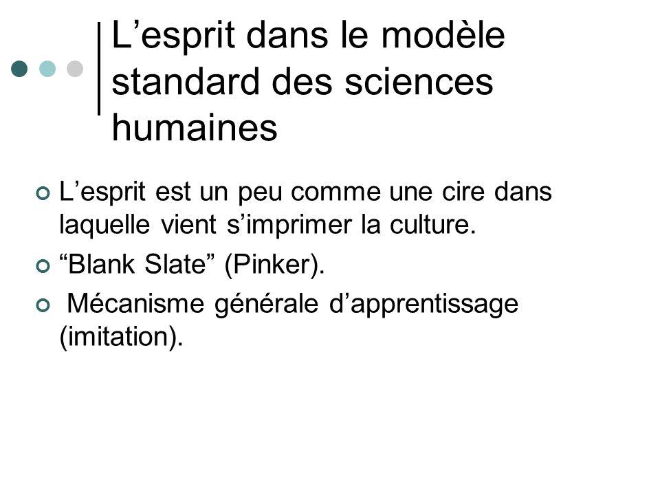 Lesprit dans le modèle standard des sciences humaines Lesprit est un peu comme une cire dans laquelle vient simprimer la culture.