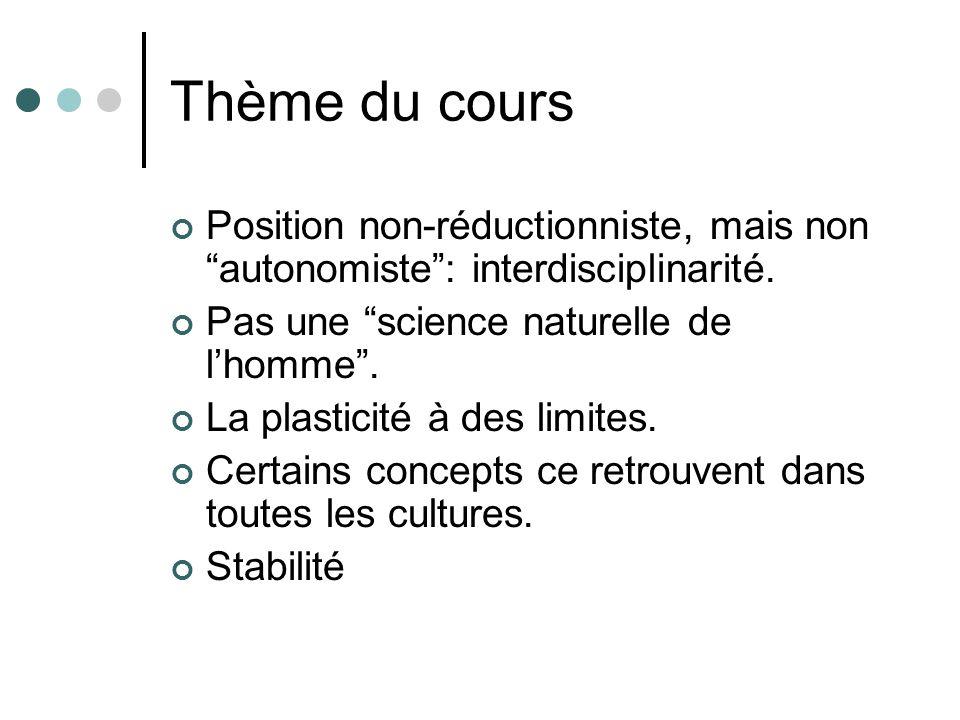 Thème du cours Position non-réductionniste, mais non autonomiste: interdisciplinarité.