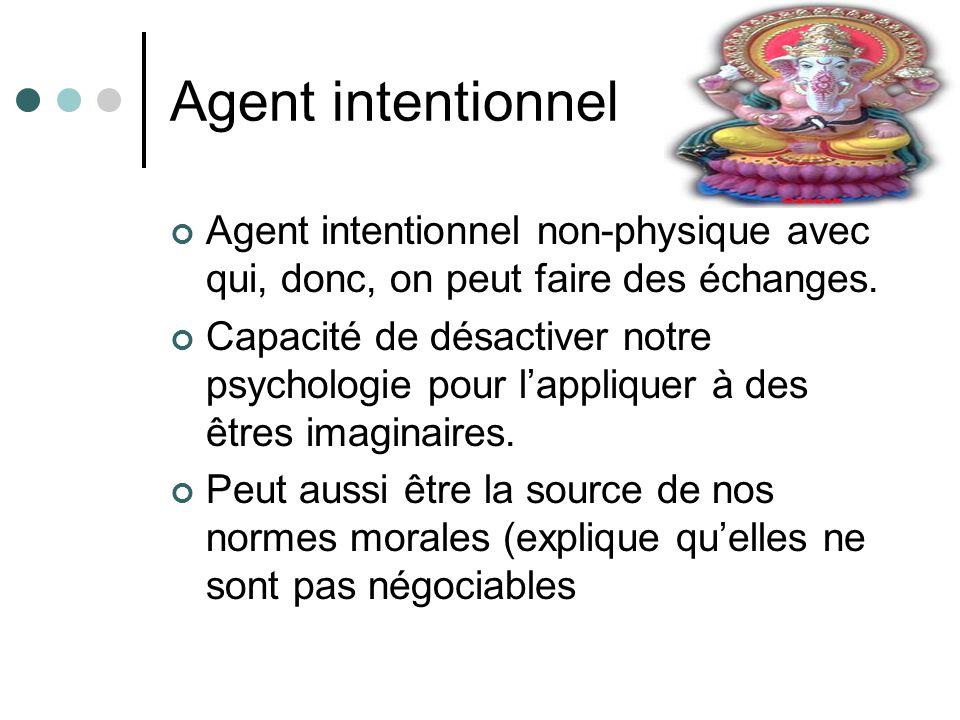 Agent intentionnel Agent intentionnel non-physique avec qui, donc, on peut faire des échanges.