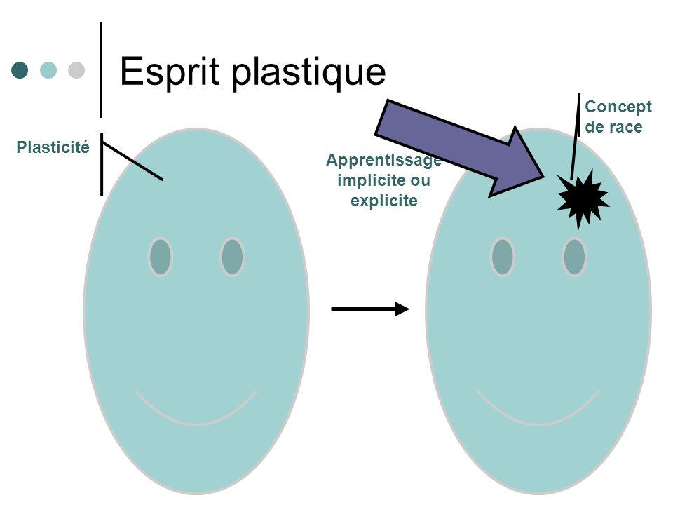 Esprit plastique Apprentissage implicite ou explicite Plasticité Concept de race
