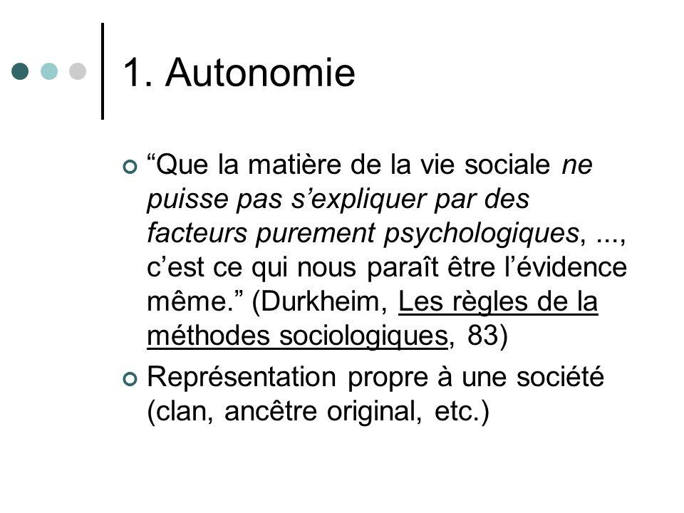 1. Autonomie du social Que la matière de la vie sociale ne puisse pas sexpliquer par des facteurs purement psychologiques,..., cest ce qui nous paraît